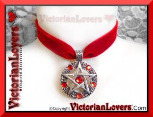 Collarino Red Pentacle by VictorianLovers.com