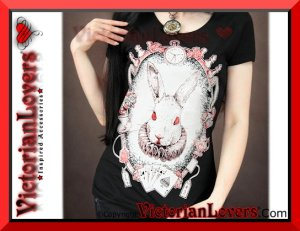 T-shirt White Rabbit by VictorianLovers.com