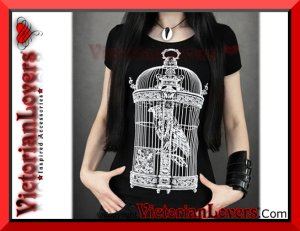 T-shirt Raven in Birdcage by VictorianLovers.com