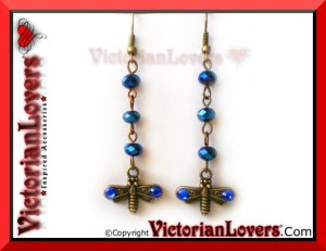 Orecchini Dragonfly - Blue by VictorianLovers.com