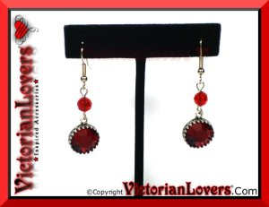 Orecchini Red Passion - Antiqued Silver by VictorianLovers.com