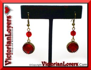 Orecchini Red Passion - Antiqued Bronze by VictorianLovers.com