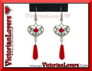Orecchini Red Heart by VictorianLovers.com